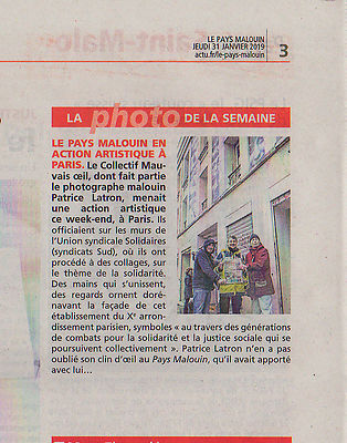 Article journal Le Pays Malouin, suite au collage photos grand format sur les murs de Solidaire, à Paris, 27 janvier 2019. Co...