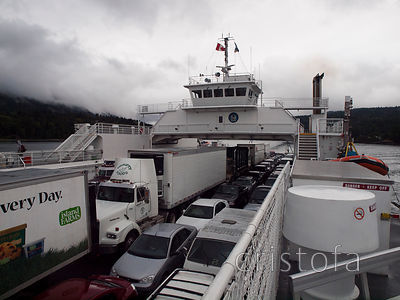 the BC Ferry to Swartz Bay on Vancouver Island on a damp day