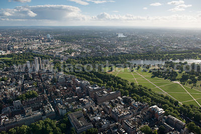 Aerial view of Mayfair and Hyde Park, London