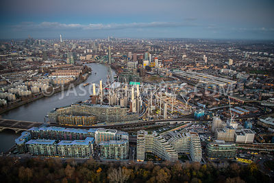 Aerial view of Battersea and Nine Elms, London.