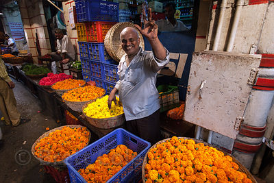 Workers at a flower market in Buleshwar, Mumbai, India.