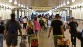 Medium Shot: Heavy Foot Traffic In Union Station's Tunnel
