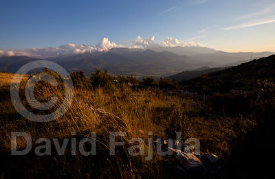 sunset in the Upper Cerdanya mountains, with Cadí Mountain Range on the background