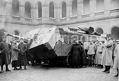 A French Saint-Chamond Tank (Char Saint-Chamond) which was manufactured between 1917 and 1918 during World War I