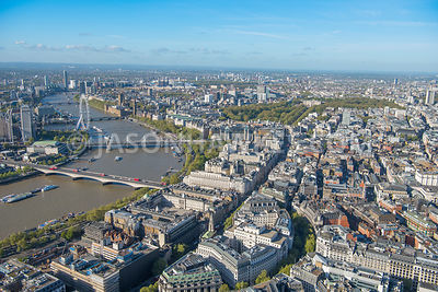 London aerial view, Aldwych, the Strand, Somerset House, Victoria Embankment Gardens, Bush House.