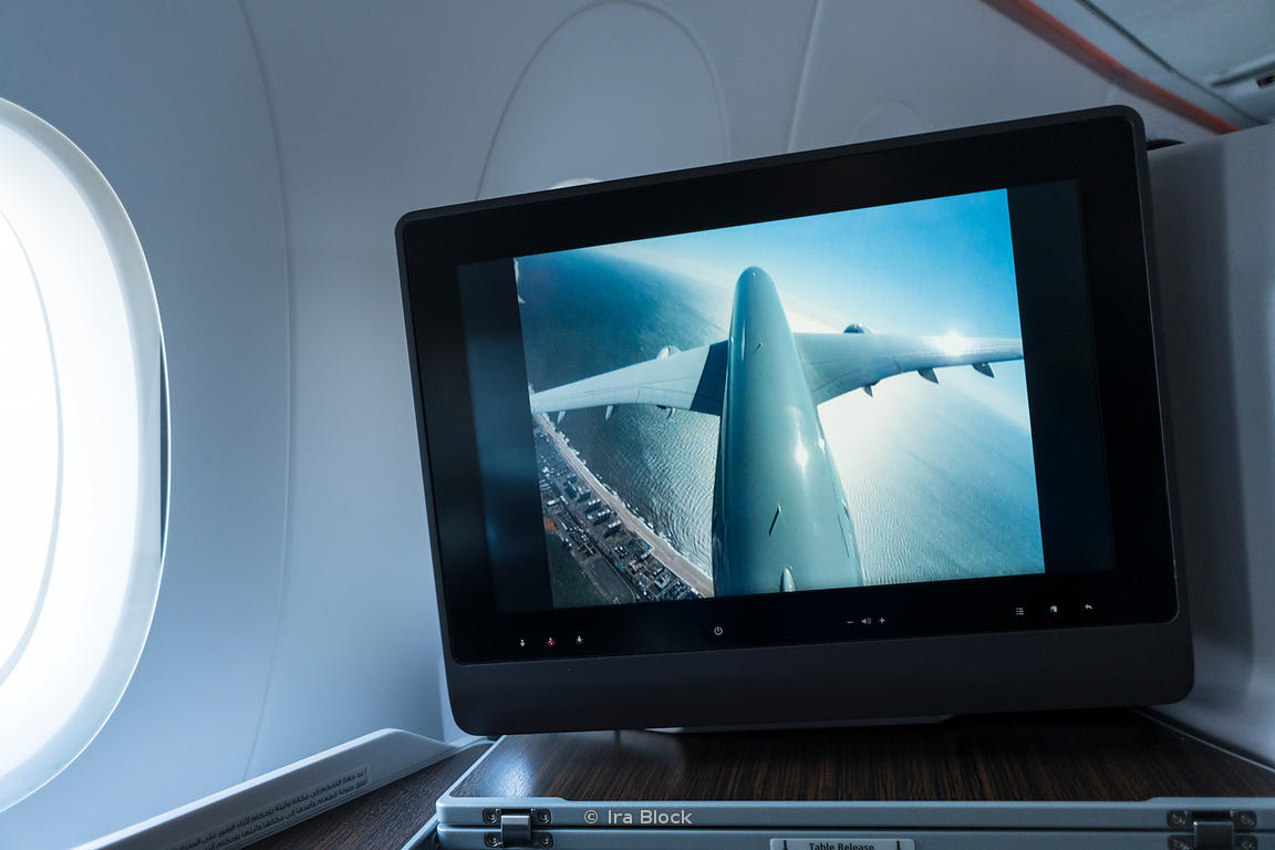 A tail monitor view of the flight in the business class of Qatar Airlines.