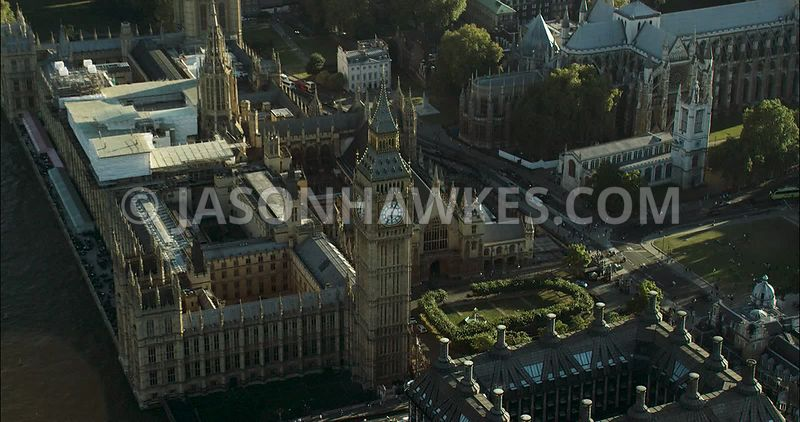 London Aerial Footage of Big Ben and Houses of Parliament
