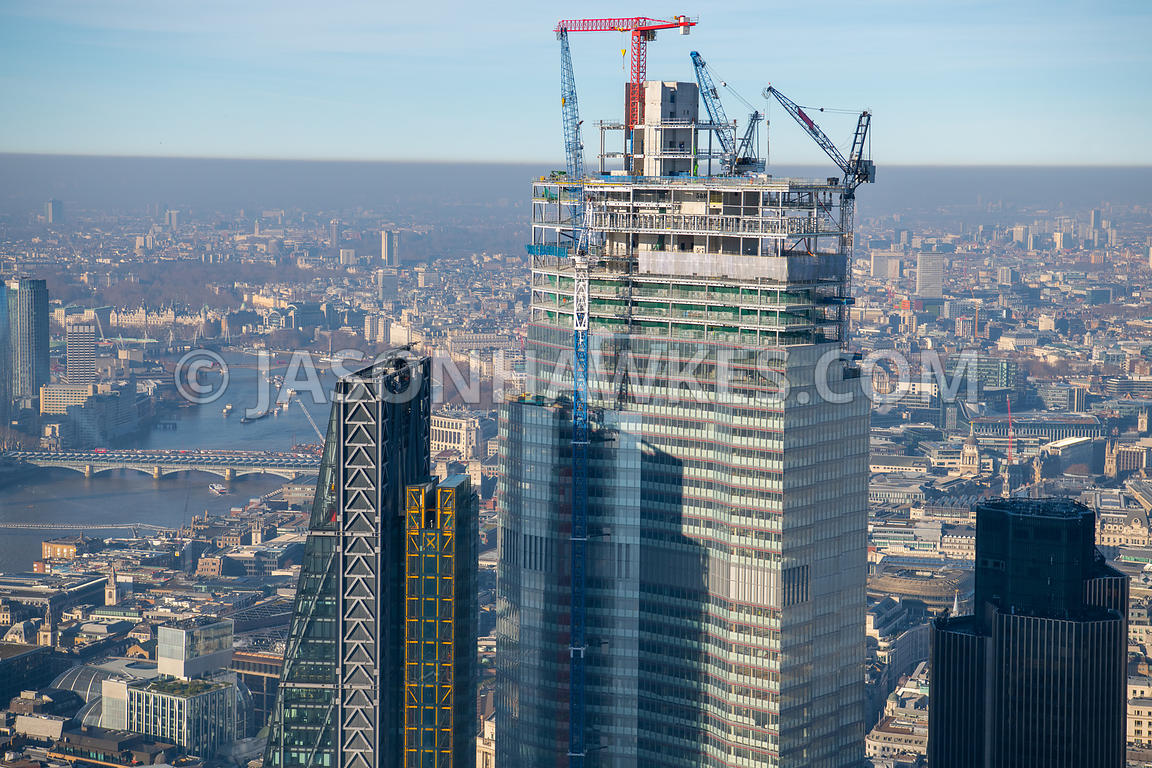 Aerial view of 22 Bishopsgate and cranes, , City of London, London