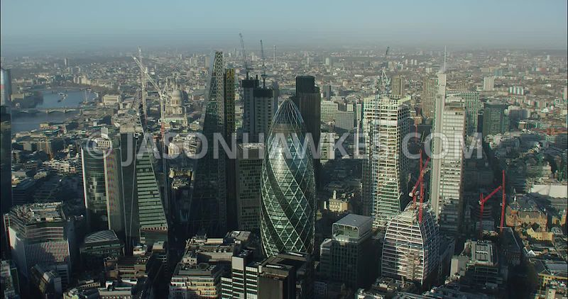 London Aerial footage, 30 St Mary's Axe, with Leadenhall Building.