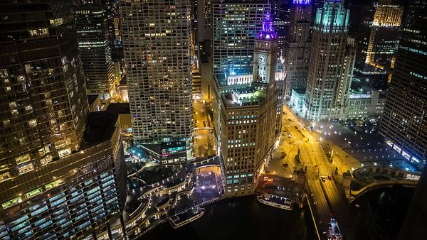 Bird's Eye: Michigan Avenue With A Neon Wrigley Clock Tower