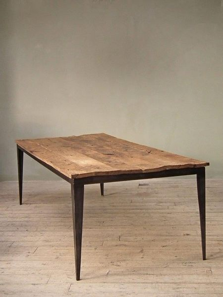 Rustic table on steel base