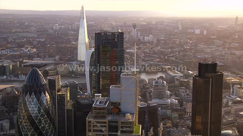 Aerial footage of the City at sunset, London