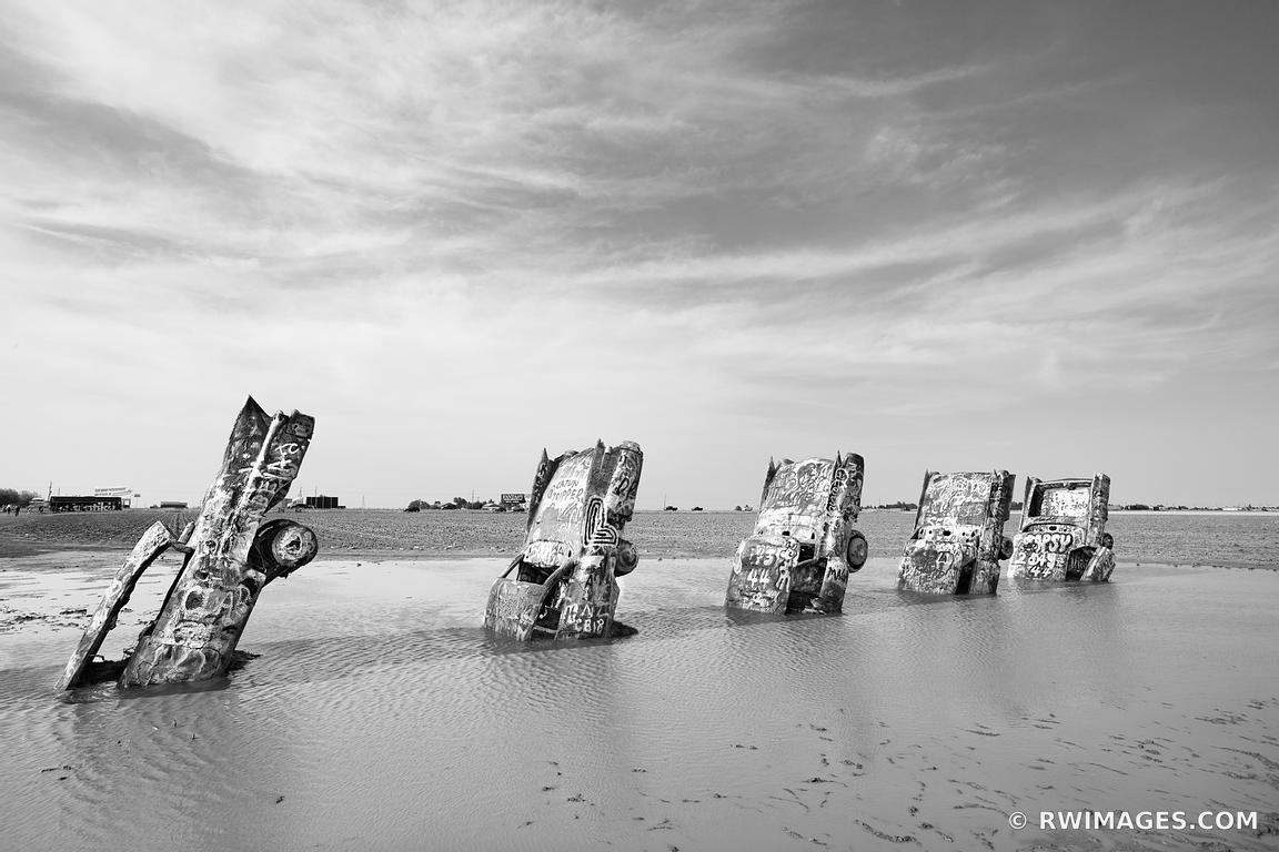 CADILLAC RANCH AMARILLO TEXAS ROUTE 66 BLACK AND WHITE