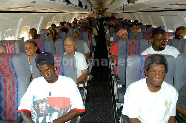 Commercial airliner loaded with Hurricane Katrina evacuees