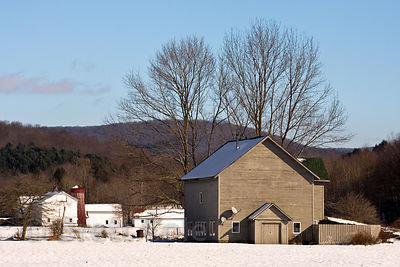 Winter snow on a farm near New Paltz, New York