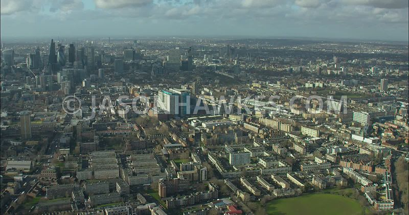 London Aerial footage, Royal London Hospital towards City of London.