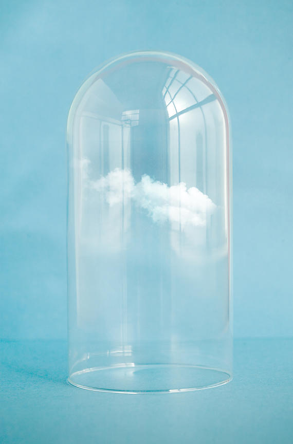 floating cloud in bell jar