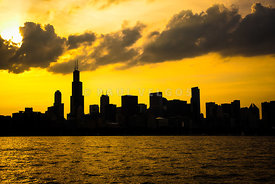 Chicago Sunset Downtown Skyline