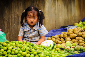 Young Vietnamese Girl at Fruit Market Stall