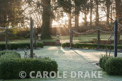 Early morning sun filters through trees to illuminate the formal garden to the south of the house. Welford Park, Newbury, Ber...