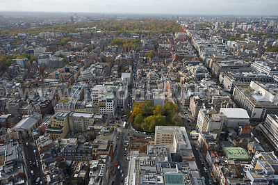Aerial view over Hanover Square and New Bond Street, London
