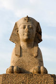 one of the sphinxes flanking Pompey's pillar, Alexandria, Egypt