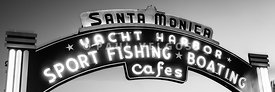 Santa Monica Pier Sign Panoramic Black and White Photo