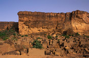 Cliff village below the Bandiagara escarpment, Amani, Dogon Country, Mali