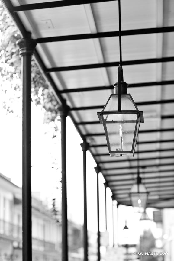 RAINY DAY FRENCH QUARTER NEW ORLEANS BLACK AND WHITE