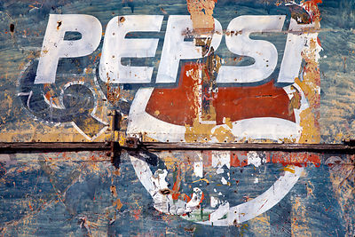 Weathered Pepsi sign in Jaisalmer, Rajasthan, India
