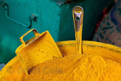 Turmeric powder for sale at a market in Bharatpur, Rajasthan, India