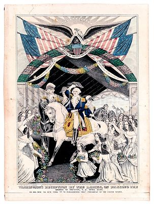 Washington's reception by the ladies, on passing the bridge at Trenton, N.J. April, 1789 on his way to New York