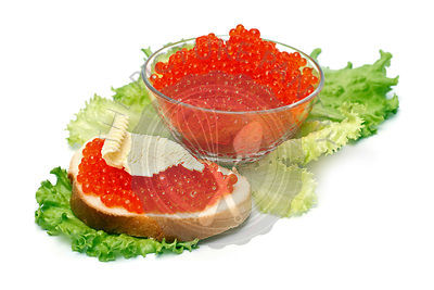 Sandwiche with red caviar on white background