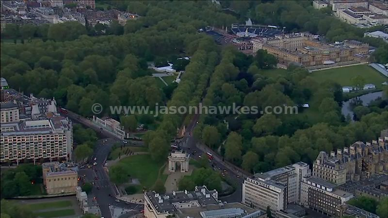 Aerial footage of Hyde Park Corner and Buckingham Palace, London, England, UK
