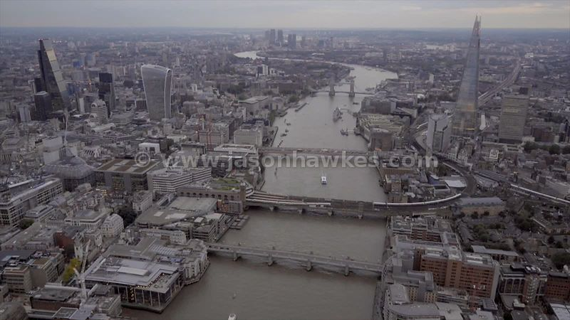 Aerial footage of the River Thames in Central London