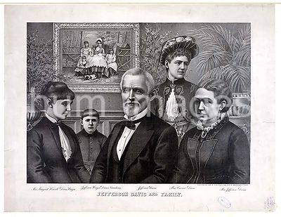 Jefferson Davis and family ca 1890 printed