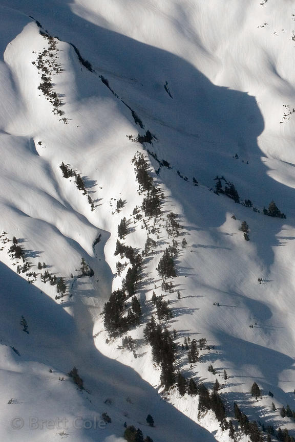 Aerial view of snowy slope near Controller Bay, Alaska