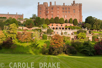 Facade of Powis Castle showing the sequence of garden terraces below featuring massive clipped yews
