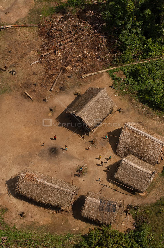 Huaorani Indian houses seen from above. Gabaro Community, Yasuni National Park, Ecuador, June 2007.