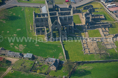 Aerial view of Tintern Abbey, Tintern, Wales