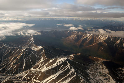 Aerial view of snowy peaks in the Chugach Mountain Range, South of Anchorage Alaska