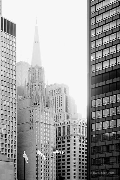 CHICAGO TEMPLE FIRST UNITED METHODIST CHURCH BLACK AND WHITE