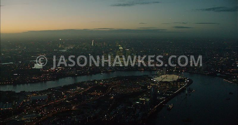 London Aerial Footage of Greenwich Peninsula at night.