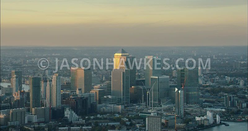 London Aerial Footage of Docklands at dusk