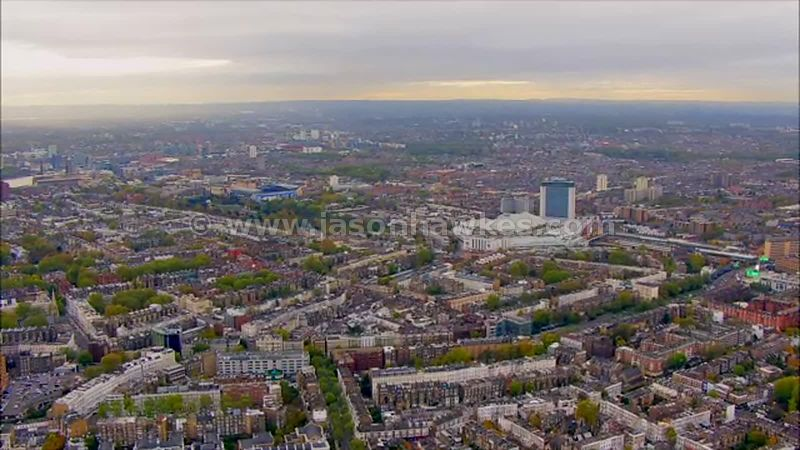 Aerial footage of Earl's Court and South Kensington, London