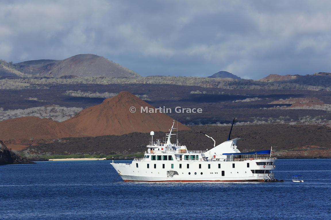 Tourist Ship M/V La Pinta anchored in Sullivan Bay between Bartolome and Santiago, Galapagos Islands