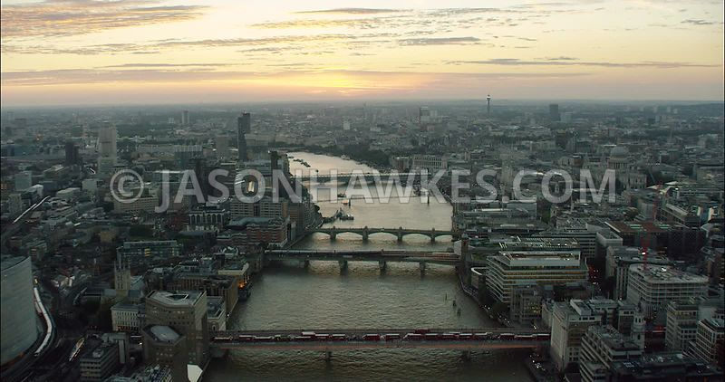 London Aerial Footage London Bridge towards Southwark Bridge