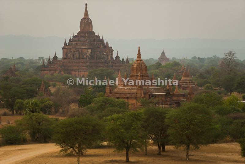 Pyathadar Temple towers over the plain. The thousands of temples, pagodas and monasteries in Bagan, once relatively unknown o...