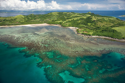 Aerial view of coral reef, coast and islands, Camarines Sur, Luzon, Philippines 2008