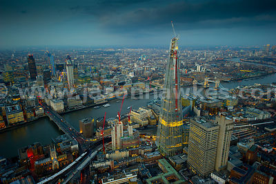 Dusk aerial view of the Shard, Tower Bridge and City of London
